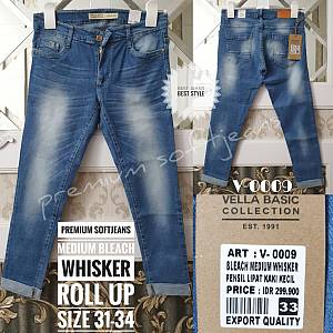 Softjeans Premium Medium Bleach Whisker Roll Up Si