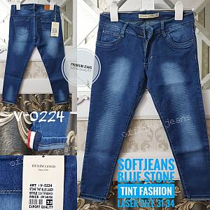Softjeans Blue Stone Tint Fashion Laser Ripped Siz