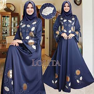 sL- Maxi Lolita flower REAL PIC Navy